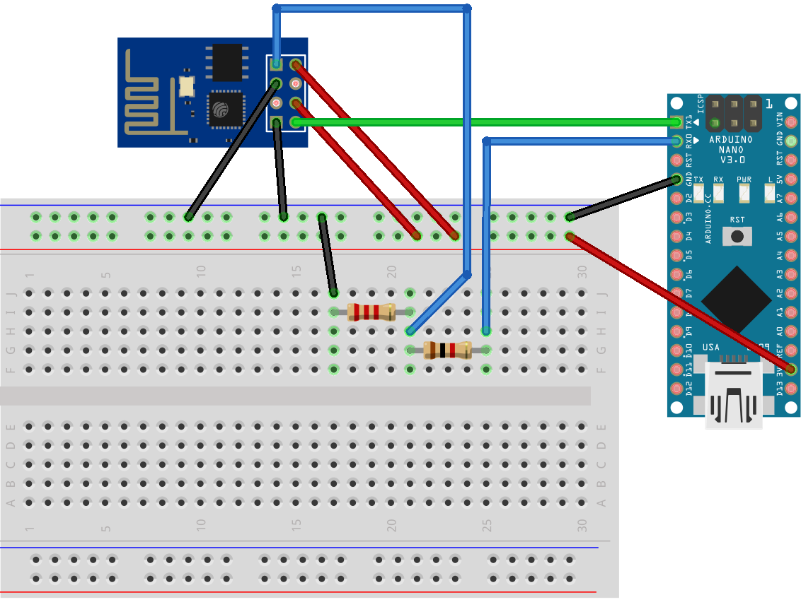 Arduino Nano and ESP01 connections schematic